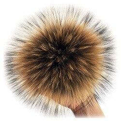 Pompons de pele de raposa fofo com botão 13-15cm diy pele de guaxinim pom pompons bolas de pele natural pompom para cachecóis chapéus sacos acessórios