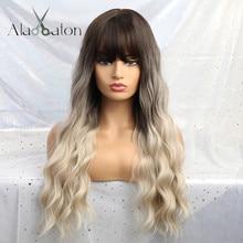 ALAN EATON Ombre блонд черный коричневый Косплей Лолита парики с челкой длинные волнистые синтетические волосы парик для женщин высокотемпературное волокно