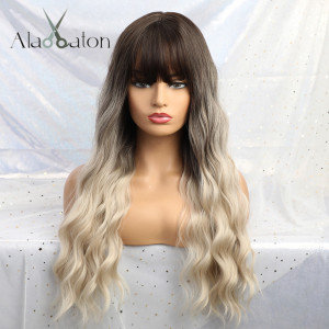 ALAN EATON Ombre Blonde Black Brown Cosplay Lolita Wigs With Bangs Long Wavy Synthetic Hair Wig For Women High Temperature Fiber(China)