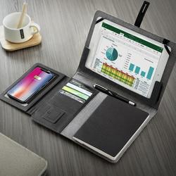 Business Travel B5 Manager Tas Draagbare Padfolio Notebook Met Power Bank Batterij Oplader Draad En Draadloos Opladen Ipad Slot