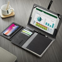 Business travel B5 manager bag portable padfolio notebook with power bank battery charger wire and wireless charging iPad lock