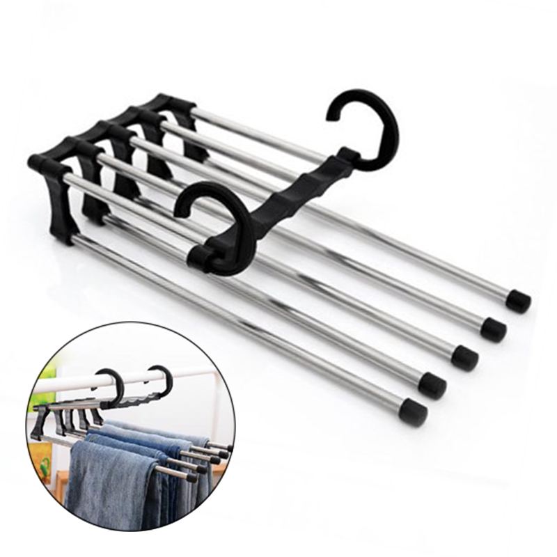 Hang Pants Are Neat 1pc Pants Rack 33x15x16cm Stainless Steel Adjustable Tie Belt Scarf Organizer Space Saving