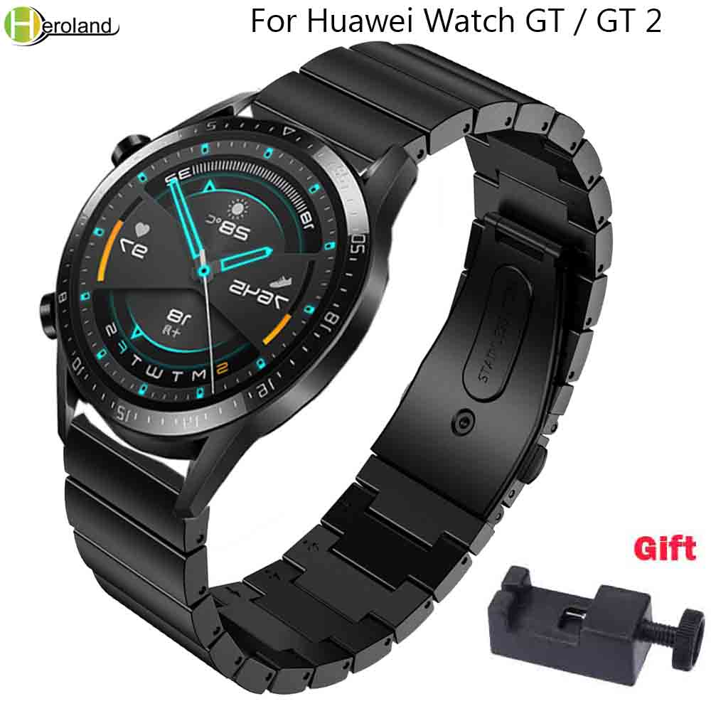 Bracelet 22mm Watch Strap Stainless Steel For HUAWEI WATCH GT 2 46mm Quick Release For Samsung Gear S3 Watchband Wristband +Tool