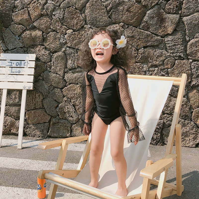 2020 New Style Children Triangular One-piece Swimming Suit Korean-style Cute Baby Girls Children Swimwear