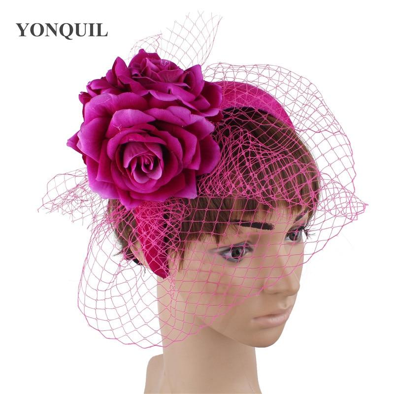 Gorgeous Fashion Elegant Bride Wedding Headwear Ladies Princess Hair Band Fascinators Flower Accessories Net Mariagne Headdress