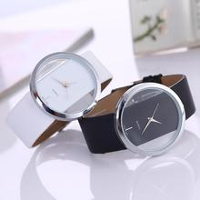 Fashion Cool Women Synthetic Leather Transparent Dial Lady Wrist Watch