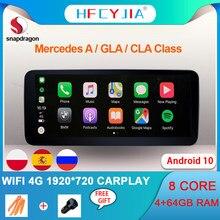 Sistema Android 10 De 8 núcleos para coche, navegador GPS automático para Mercedes Benz A GLA CLA W176 C117 X156 W463 WIFI 4G 4 + 64GB Carplay 1920*720
