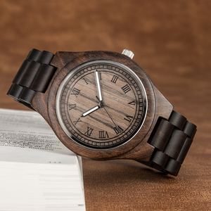 Image 4 - العلامة التجارية ساعة خشبية ريترو تصميم أنيق الخشب الساعات اليابان المواطن حركة الرجال ساعات كوارتز هدية للرجال الساعات