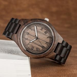Image 4 - Montre en bois de marque Design rétro élégant bois montres japon citoyen mouvement hommes montres à Quartz cadeau pour hommes