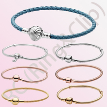 2020 New 925 Sterling Silver Bracelets Moments Snake Chain Leather charm Bracelet fit Original Charms For Women DIY Jewelry