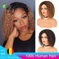 Siyo Brasilianische Remy Menschenhaar Perücken Tiefe Lockige Kurze Lockige Bob Perücke für Schwarze Frauen Ombre Farbe 1B/30 menschliches Haar Volle Perücke