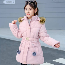 Winter Coat Girl Thicken Jacket Kids Cotton-padded Clothes Down For Girls Lively Parka Hoodie