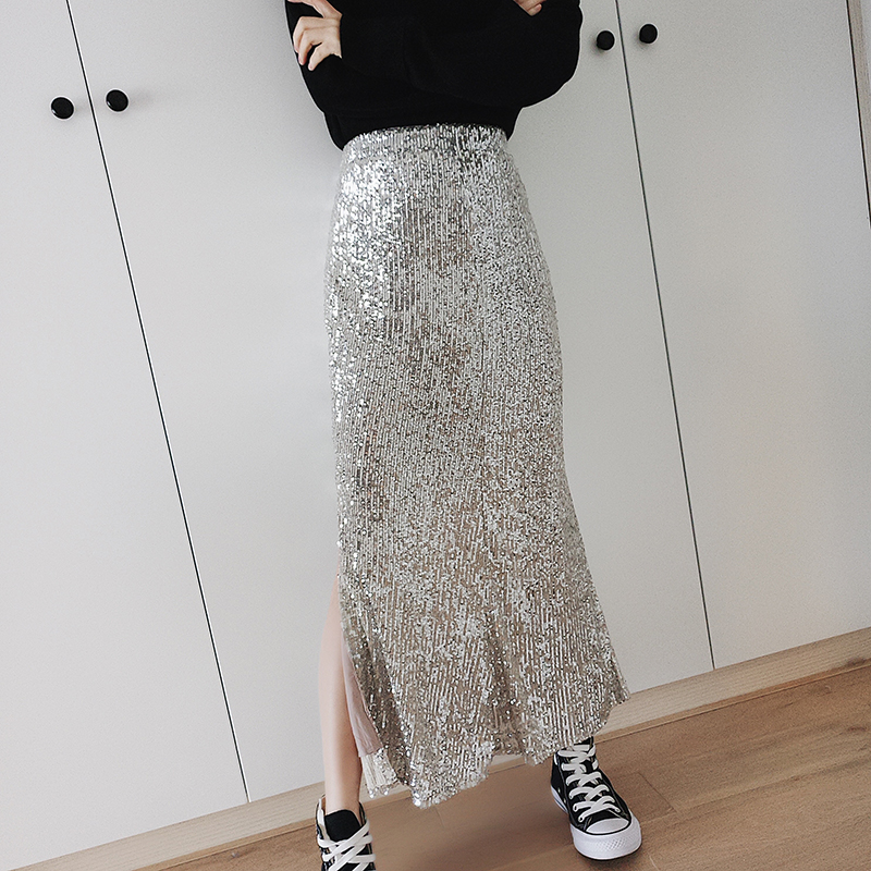 Female Sequined Skirt 2019 Autumn Spring Women Slim Split Up Package Hip Sparkly Silver Sequins Midi One Step Skirt Jupe Femme