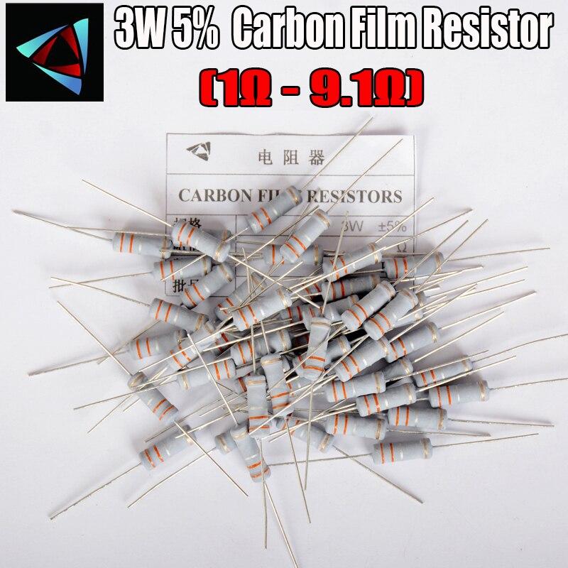 10 шт. 3 Вт Резистор из углеродистой пленки 5% 1R ~ 1 м 1R 1 1,2 1,5 1,8 2 2,2 2,4 2,7 3 3,3 3,6 3,9 4,3 4,7 5,1 5,6 6,2 6,8 7,5 8,2 9,1 Ом