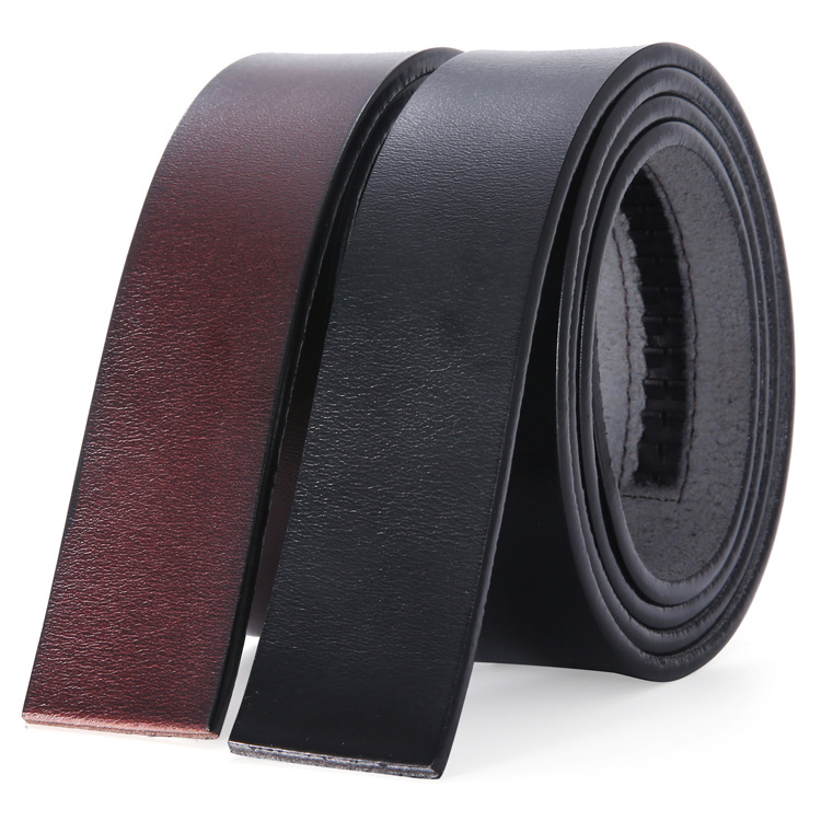 3.5cm Wide Automatic Buckle Belt No Buckle Real Genuine Leather Belt Without Buckle Cowboy Cowskin Leather Belt Body Black Brown