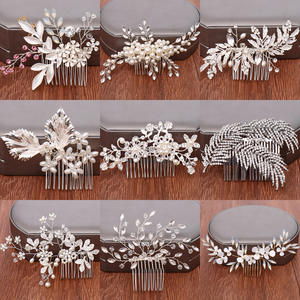 Headpiece Tiaras Hair-Comb Jewelry Pearl Rhinestone Leaf Bride Wedding Silver