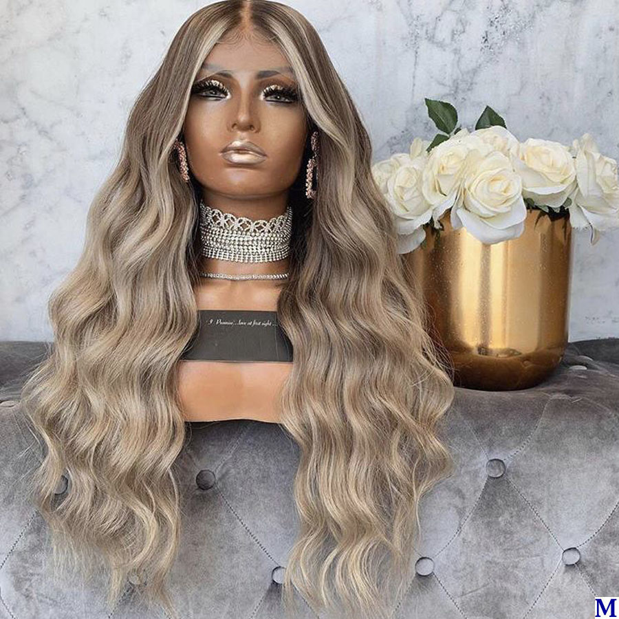 Peruvian Transparent Silk Base Lace Front Human Hair Wigs For Black Women Pre Plucked Ombre Body Wave Full Lace Wigs 180Density