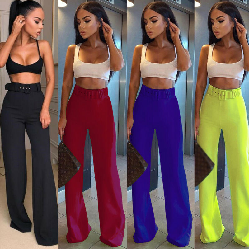 Formal Bell-Bottom Pants Women Belt High Waist Flare Pants 2019 New Trousers Slim Casual Elegant Work Wear Pants Pantalon Femme