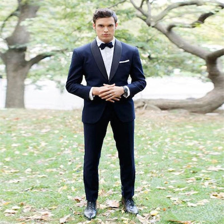 Dark Blue Groom Wear Shawl Lapel Two Piece Wedding Tuxedos Trim Fit Mens Business Suit Formal Wear Tailor Blazer (Jacket+Pant)