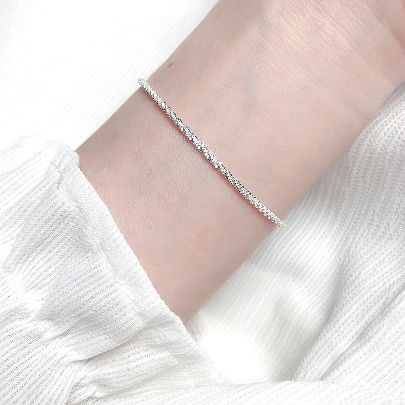 Thin 925 stamped silver plated Shiny Chains Bracelet For Women Girls Friend Jewelry Korean Fashion Trendy Jewelry