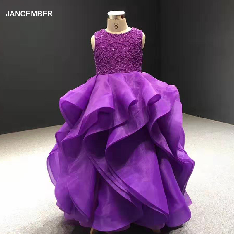 J66720 Jancember Purple Flower Girl Dresses For Weddings O Neck Sleeveless Lace Up Ball Gown For Kids бальные платья на девочку