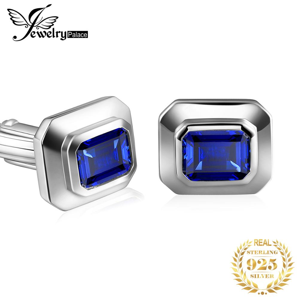 Jewelrypalace Men's Created Sapphire Anniversary Engagement Wedding Cufflinks  925 Sterling Silver Men's Jewelry Fashion Gifts