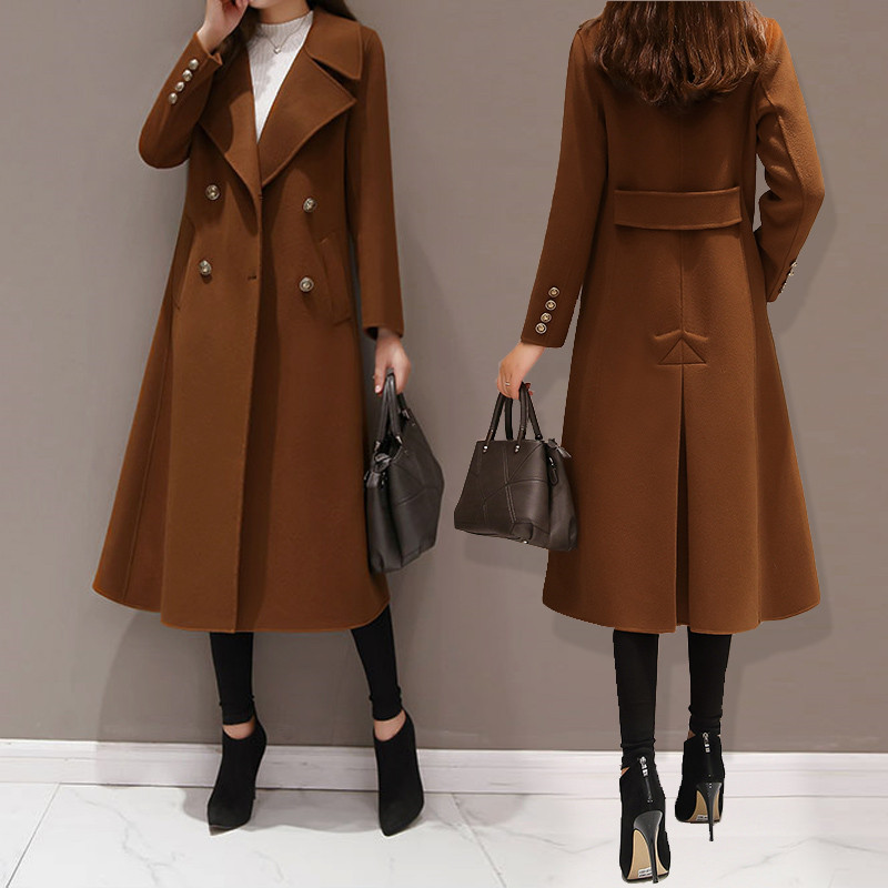 Новинка, зимнее женское Шерстяное Пальто, модное повседневное двубортное длинное пальто, элегантная женская куртка, черный цвет, большие ра