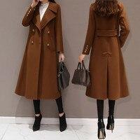 New Winter Women Woolen Coat Fashion Casual Double breasted Long Coat Elegant Female Jacket Casaco Feminino Black Plus Size 5XL