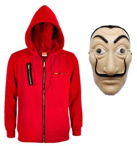 Salvador Dali Raub Papier Haus La Casa De Papel Cosplay Kostüm geld heist Sweatshirt Hoodie Mantel Jacke Männer Frau Top + maske