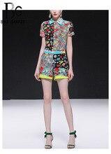 Baogarret 2019 Runway Summer Shorts Two Piece Set Women's Stripe Flower Print Short Sleeve Blouse + Shorts Fashion Two Pieces flower print shorts