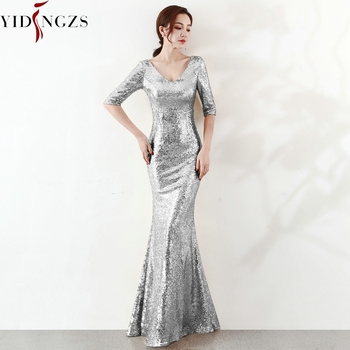 YIDINGZS Formal Silver Sequins Evening Party Dress 2020 Half Sleeve Long Evening Dresses YD16059
