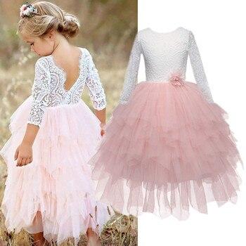 Vestido largo de encaje para niñas, ropa de desfile para niños, tutú en capas, vestido de niña, vestidos de baile irregulares para 3 4 5 6 7 8T, ropa de bebé