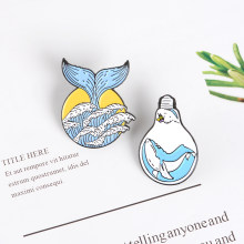 Wave Mermaid tail Bulb Enamel pin Summer Ocean Blue Sea wave Whale Brooch Badges Bag Clothes Lapel Pin Wave Jewelry Gifts(China)