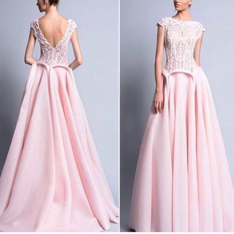 Vestido De Noiva Pink Long Evening A Line With Plunging Deep V Back Sheer Lace Bodice Organza Fabric Mother Of  The Bride Dress