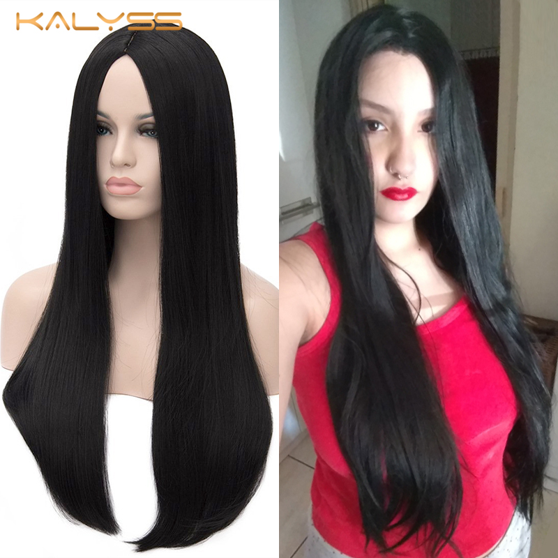 Kalyss 27 Inch Wigs For Women Synthetic Lace Front Wig For Black Women Heat Resistant Long Yaki Straight Frontal Wigs False Hair