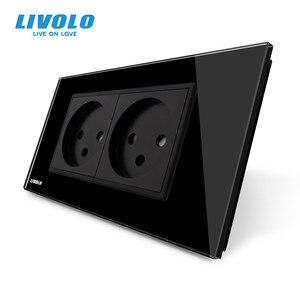 Image 2 - LIVOLO priseคู่อิสราเอลPower 16A Outlet,กระจกนิรภัยสีขาว/แผงกระจกสีดำ,AC 100 ~ 250V,Siamesedออกแบบ,ไม่มีโลโก้