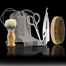 5PCS/Set Beard Brush Comb Mens Mustache Hair Care Grooming Kit Shears Scissors with Bag Styling Tools G0310