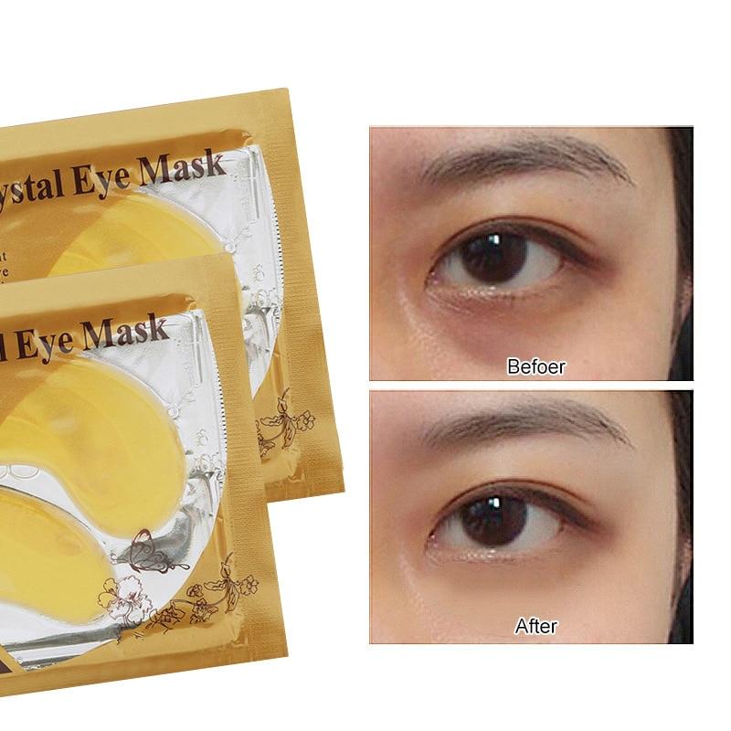 2pcs/1pair Gold Crystal Collagen Eye Mask Dark Circles Eye Bags Removal Anti Aging Moisturizing Eye Masks Skin Care TSLM2