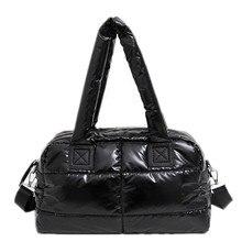 2020 새로운 겨울 여성 공간 코 튼 핸드백 캐주얼 숙 녀 가방 아래로 패션 밝은 어깨 가방 여성 토트 Bolsas sac a main