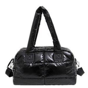 Image 1 - 2020 New Winter Women Space Cotton Handbags casual Ladies Bag Down Fashion Bright Shoulder Bag Female tote Bolsas sac a main
