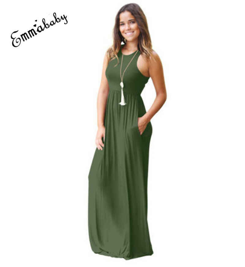 Fashion Women Summer Sexy Leisure Slim Solid Color Boho Long Maxi Dress Club Party Beach Dresses