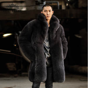 Coat Men Jacket Real-Fox-Fur Natural Winter Luxury Thick Genuine New Warm Male Long FM-003