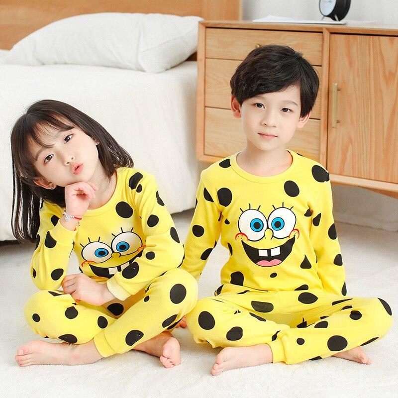 Kids Pajamas 2019 Autumn Girls Boys Sleepwear Nightwear Baby Infant Clothes Animal Cartoon Pajama Sets Cotton Children's Pyjamas