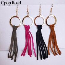 Cpop Handmade Genuine Leather Tassel Earrings Gold Circle Pendant Dangle Fashion Bridesmaid Jewelry Women Accessories