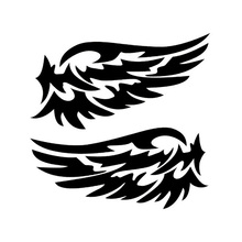 14*7cm Guardian Angel Wings Lovely Reflective Car Stickers Fashion Rearview Mirror Auto Motorcycle Light Decoration Decals