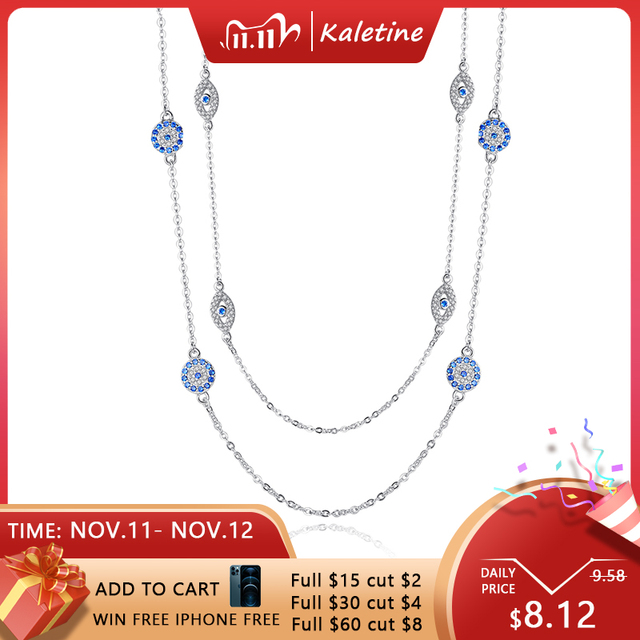 KALETINE 925 Sterling Silver Necklace Women Round Pendant Evil Eye Necklaces Blue Zircon Long Link Chain Turkey Jewelry