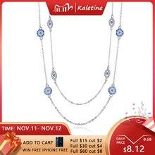 KALETINE 925 الاسترليني قلادة فضية المرأة قلادة مستديرة عين الشر القلائد الأزرق الزركون سلسلة طويلة تركيا مجوهرات