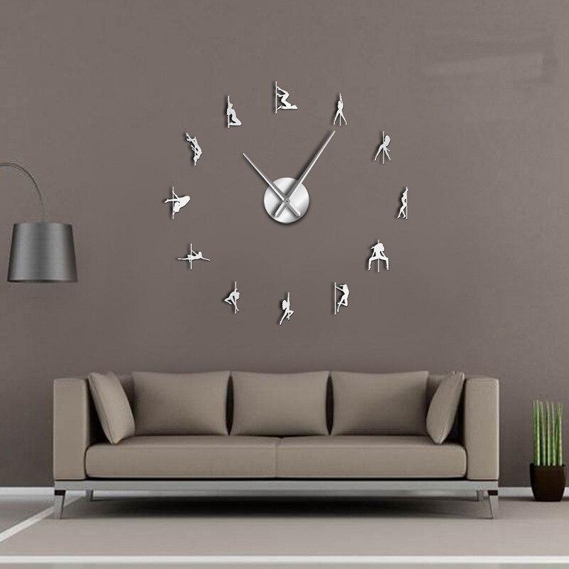 DIY Sexy Pole Dance Home Clock Large Acrylic Mirror Wall Clock Different Dance Shape Frameless Art Wall Decoration Clock