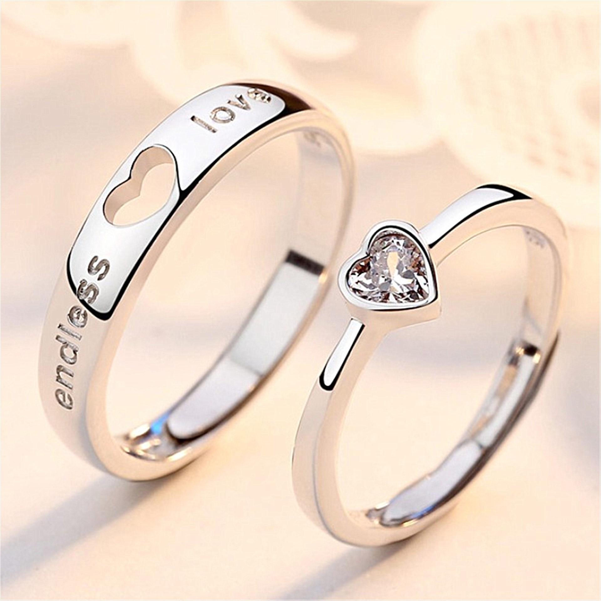 Crazy Feng (Лея фенг) выбитое сердечко Пара Кольца для мужчин и женщин серебро Цвет любовь с украшением в виде кристаллов CZ обручальное Регулируе...
