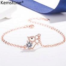 Женский браслет-цепочка Kemstone Mice, покрытый розовым золотом и серебром